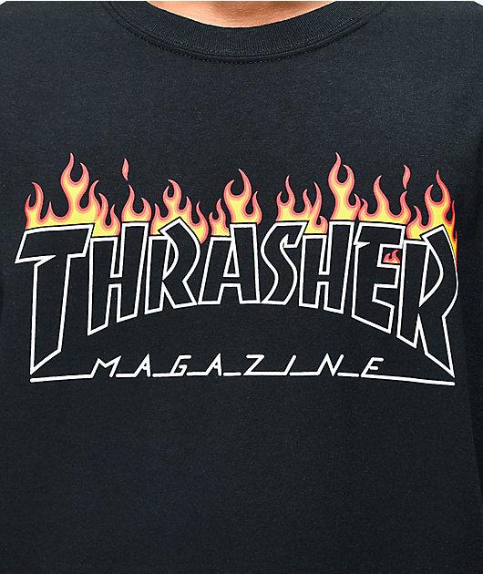 Thrasher Scorched Outline Black T-Shirt