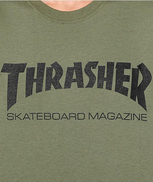 Thrasher Skate Mag T-Shirt TeeVerde Militar Genuino Nuevo