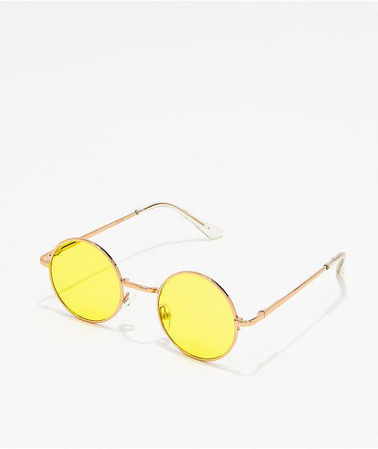 Tiny Yellow Round Sunglasses