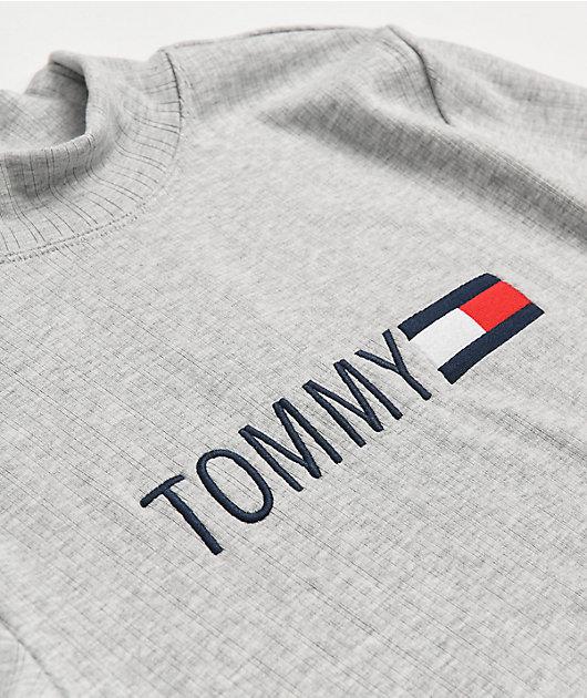 Tommy Hilfiger Light Grey Mock Neck Long Sleeve T-Shirt