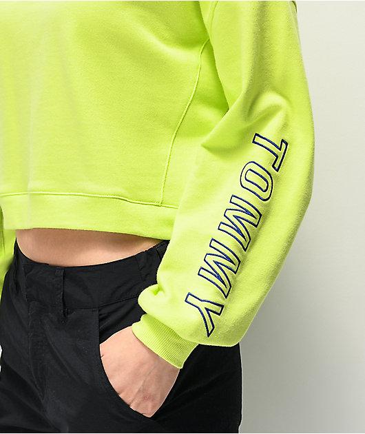 Tommy Hilfiger Neon Green Crop Crew Neck Sweatshirt