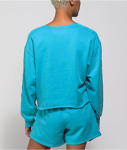 Tommy Hilfiger Scuba Blue Crop Crew Neck Sweatshirt