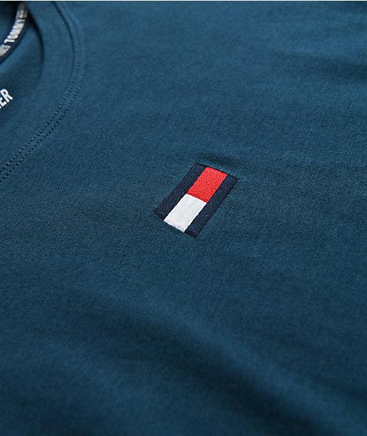 Tommy Hilfiger Teal Crop Long Sleeve T-Shirt