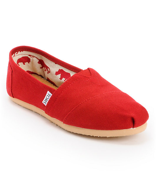 Toms Classics Canvas Red Slip-On Womens