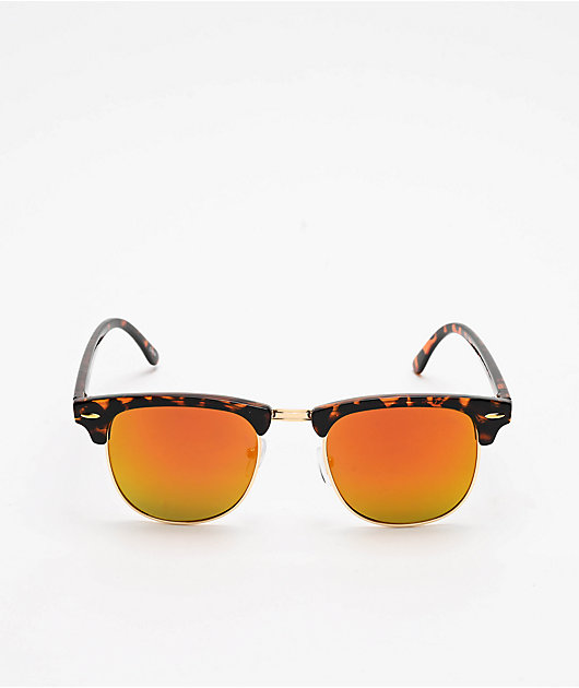 Tortoise, Gold & Red Clubmaster Sunglasses