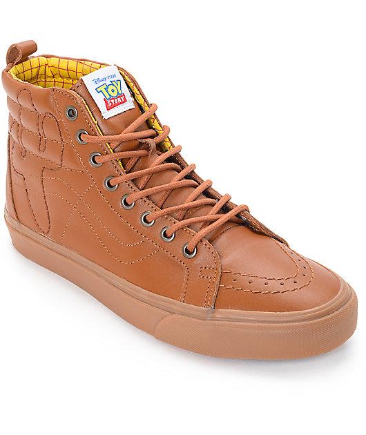Toy Story x Vans Sk8 Hi Woody zapatos de cuero marron (Hombres)