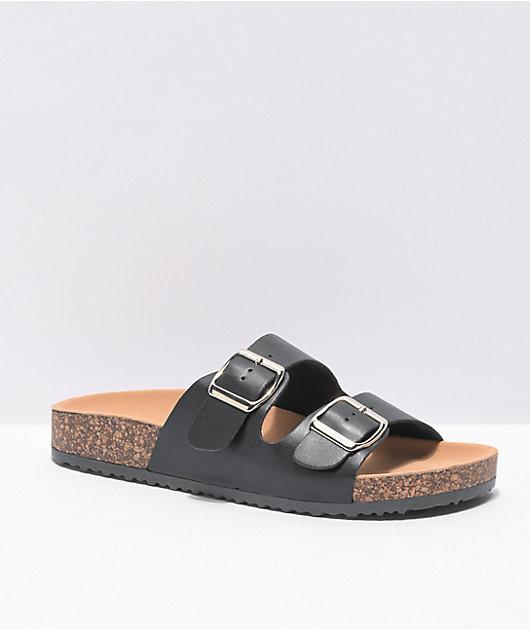 Trillium Black & Tan Two Strap Slide Sandals