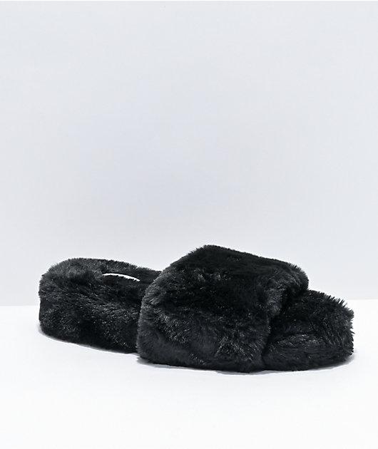 Trillium Black Furry Slide Sandals