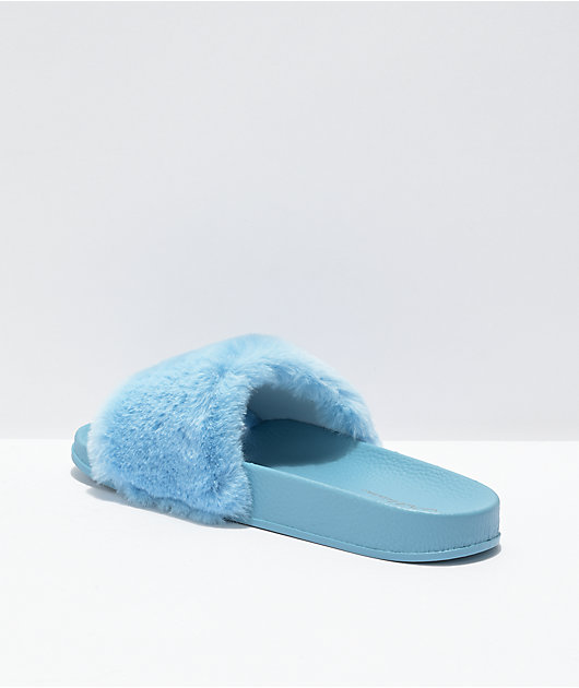 Trillium Blue Fur Slide Sandals