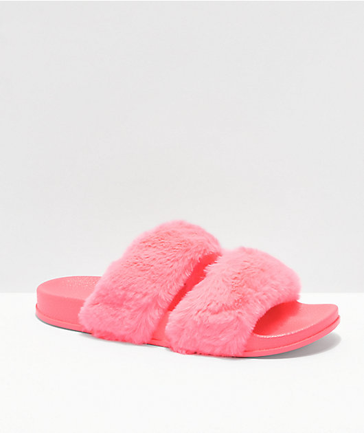 Trillium Double Strap Hot Pink Furry Slide Sandals