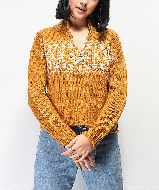 Trillium Fairisle Gold Half Zip Sweater