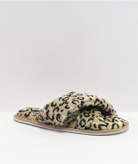 Trillium Furry Leopard Criss Cross Slide Sandals