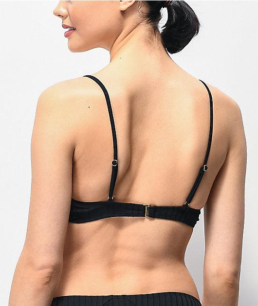 Trillium Hana Ribbed Black Triangle Bikini Top