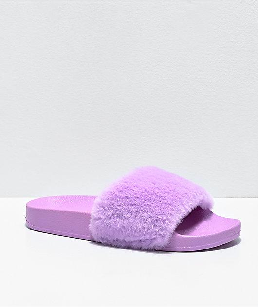 Trillium Lavender Fur Slide Sandals
