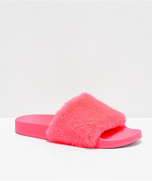 Trillium Neon Pink Slide Sandals