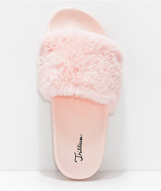 Trillium Pink Fur Slide Sandals