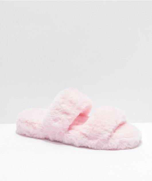 Trillium Pink Furry 2 Strap Slide Sandals