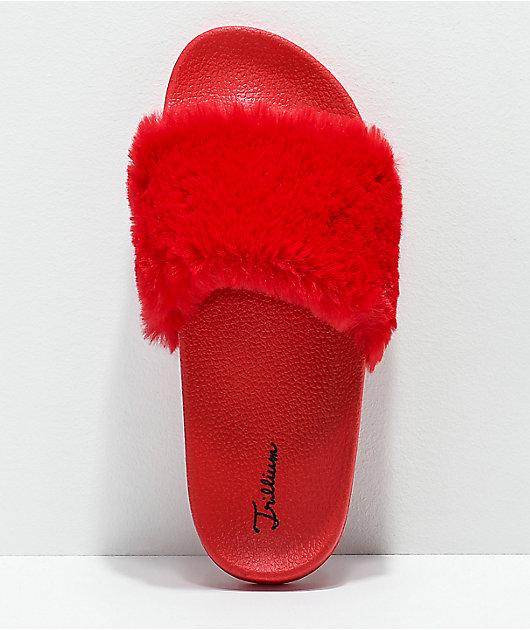 Trillium Red Fur Slide Sandals