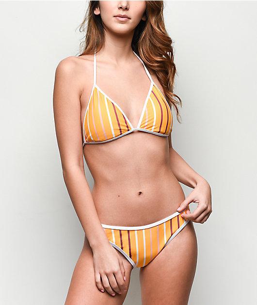 Trillium Saffron Stripe High Leg Cheeky Bikini Bottom