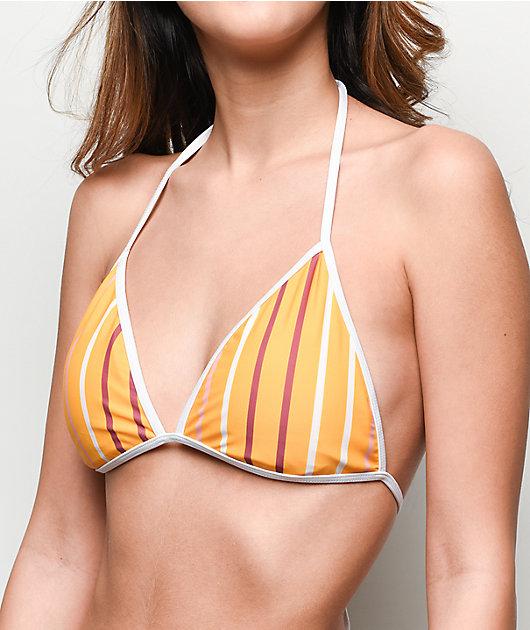 Trillium Saffron Striped Triangle Bikini Top
