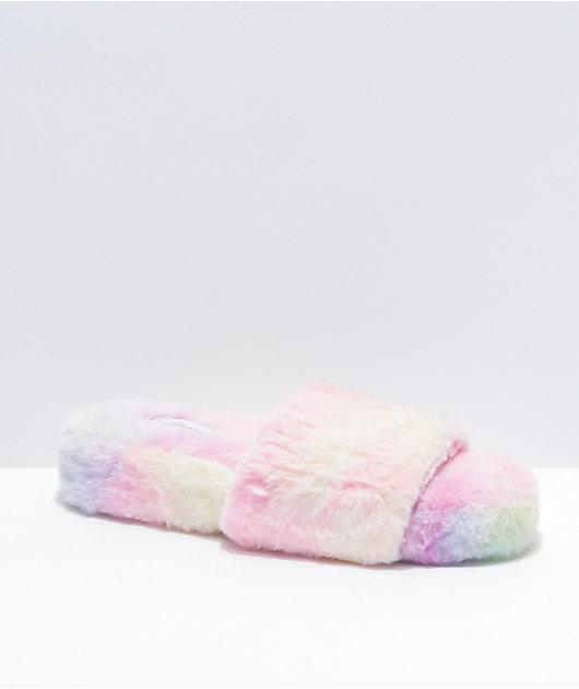 Trillium Tie Dye Furry Slide Sandals