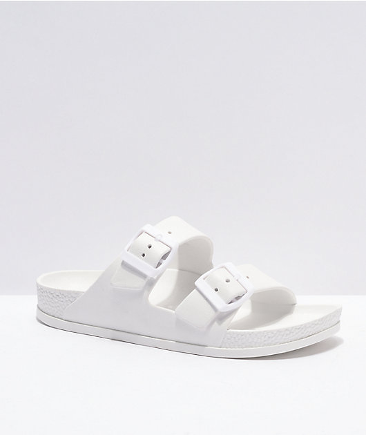 Trillium White 2 Strap Slide Sandals