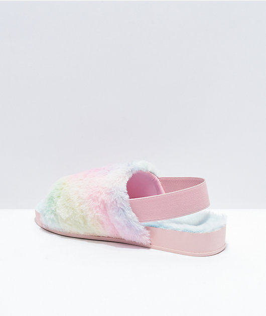 Trillium Wide Band Tie Dye Furry Slide Sandals