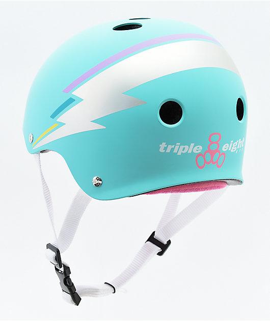 Triple Eight Certified Sweatsaver Teal Hologram Skateboard Helmet