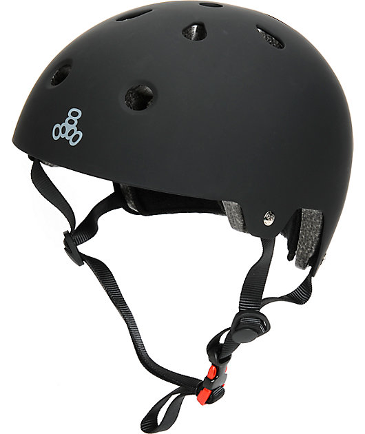 Triple Eight Dual Certified Black Rubber Skateboard Helmet
