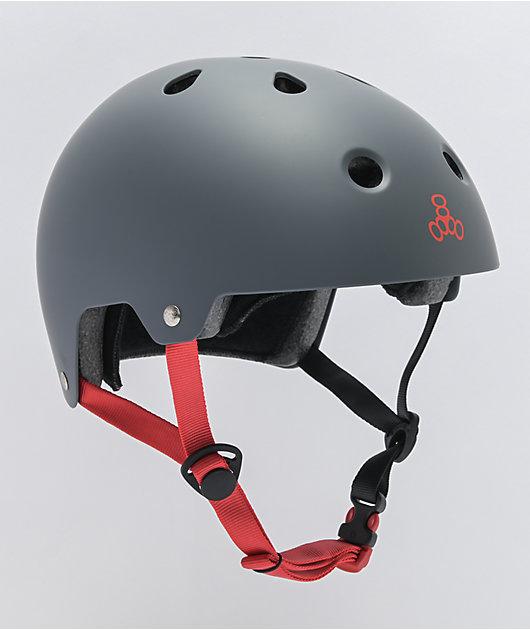 Triple Eight Dual Certified Matte Gunmetal Rubber Skateboard Helmet