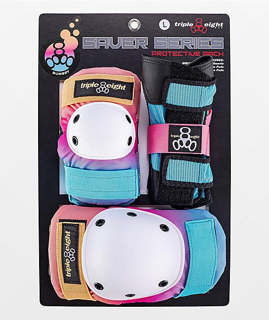 Triple Eight Sunset Pink & Blue 3-Pack Pad Set