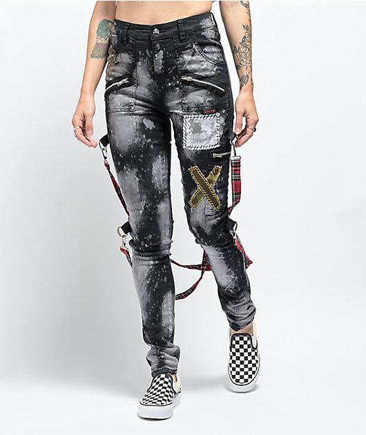Tripp NYC Chaos Patched & Bleached Black Bondage Pants