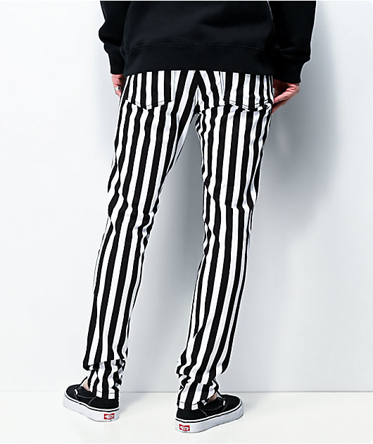 Tripp NYC Rocker Stripe Black & White Skinny Jeans