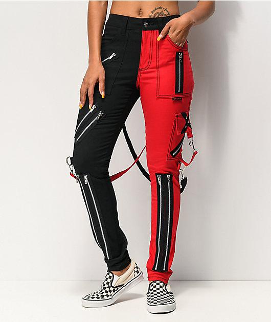 Tripp NYC Split Black & Red Bondage Pants