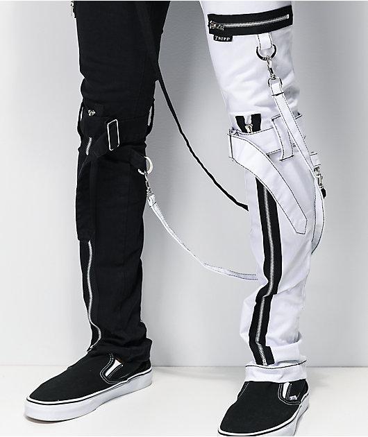 Tripp NYC Split pantalones negros y blancos con tirantes