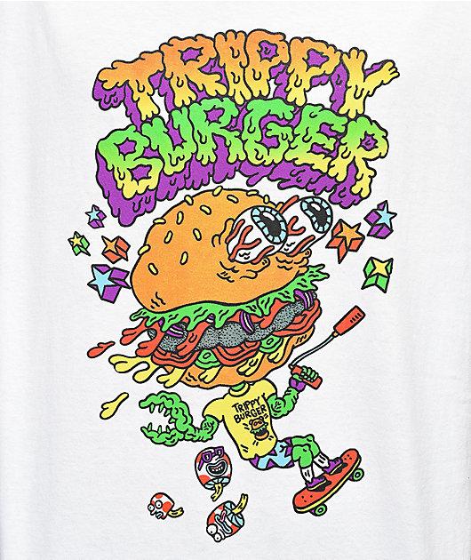 Trippy Burger Skate Burger White T-Shirt