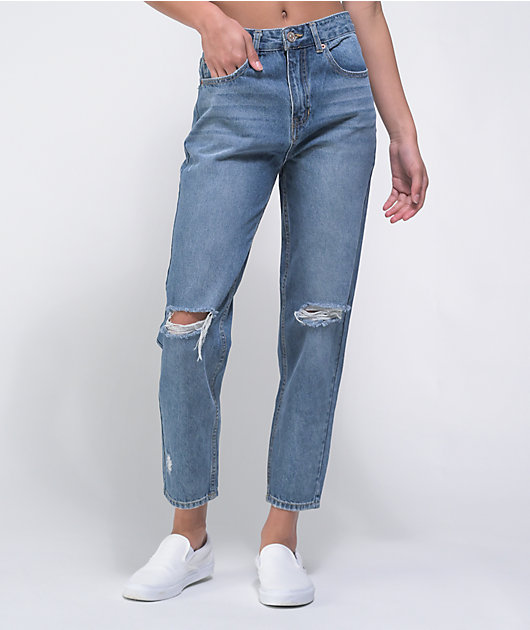 Unionbay Madonna Blue Destructed Mom Jeans