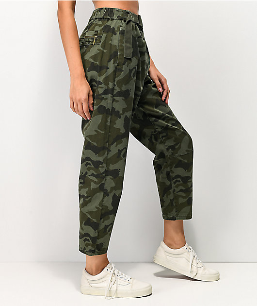 Unionbay Sharon Camo Belted Elastic Waist Pants