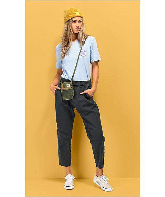 Unionbay Sharon pantalones grises con cinturón y cintura elástica