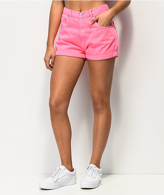 Unionbay Tab Back Pink Denim Shorts