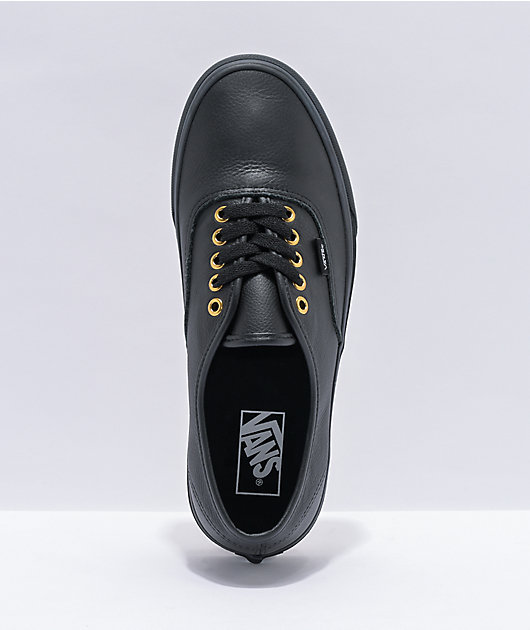 Vans Authentic Black Leather Skate Shoes