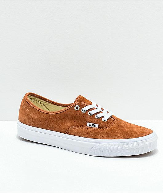 Vans Authentic Brown Pig Suede Skate Shoes