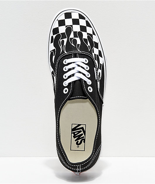 Vans Authentic Checkerboard Flame Black & White Skate Shoes