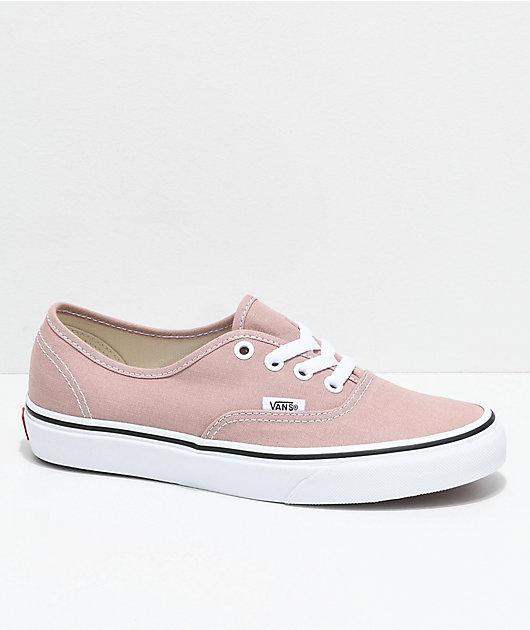 Vans Authentic Mahogany Rose & White Skate Shoes