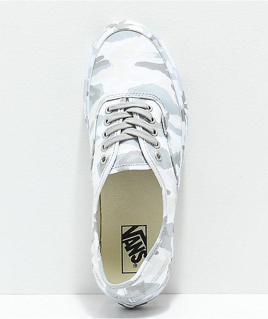 Vans Authentic Mono Snow Camo Skate Shoes
