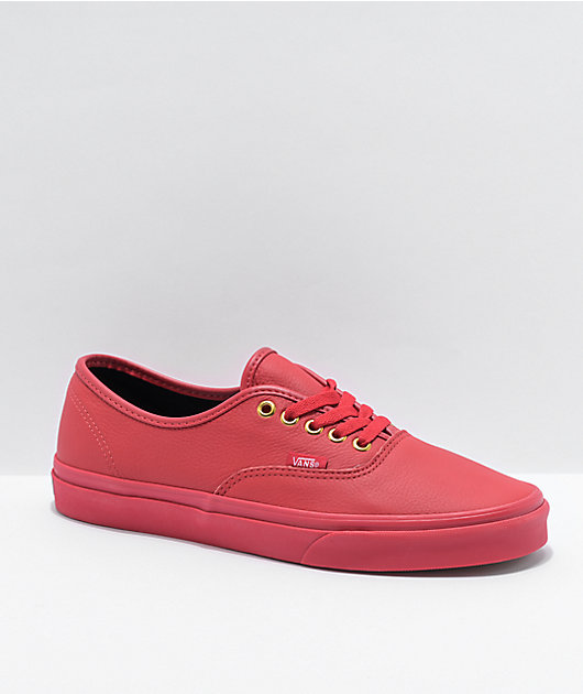 Vans Authentic Red Leather Skate Shoes