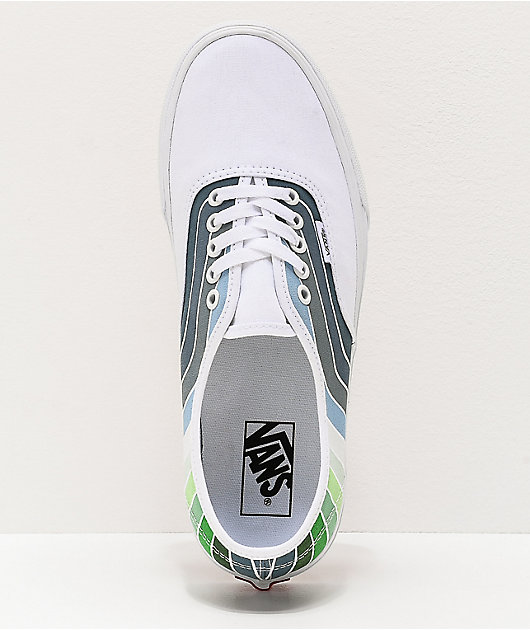 Vans Authentic Refract White, Green & Blue Skate Shoes