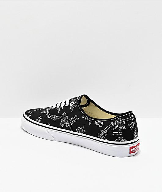 Vans Authentic Thank You Black & Floral Skate Shoes