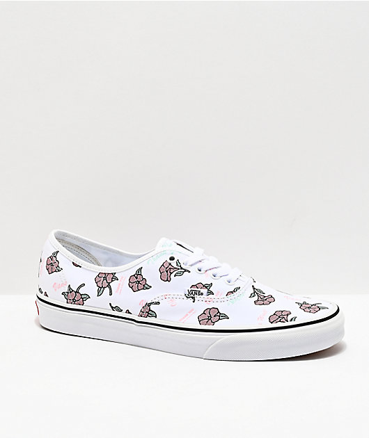 Vans Authentic Thank You White & Floral Skate Shoes