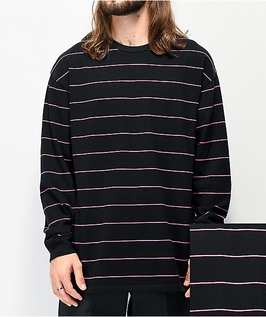 Vans Awbrey Black & Pink Stripe Knit Long Sleeve T-Shirt